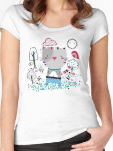 Cat in the Garden Women's Fitted Scoop T-Shirt