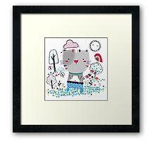 Cat in the Garden Framed Print