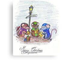 Caroling Mice Canvas Print
