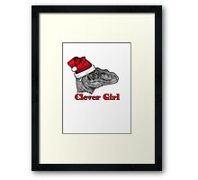 Clever girl funny Velociraptor Christmas tee    Framed Print