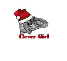 Clever girl funny Velociraptor Christmas tee    Photographic Print