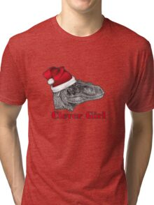 Clever girl funny Velociraptor Christmas tee    Tri-blend T-Shirt