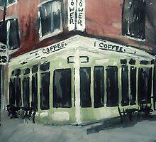 Shot Tower Coffee Philadelphia  USA Impressionist Fine Art Acrylic Painting by JamesPeart