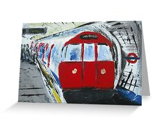 London Underground Red Tube Train Contemporary Acrylic Painting On Canvas Board Greeting Card