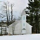 Old Country Church in the Winter Woods by Gene Walls