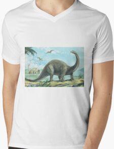 Brontosaurus Mens V-Neck T-Shirt