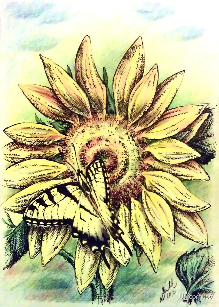 Sunflower and Swallowtail by Unicornuss