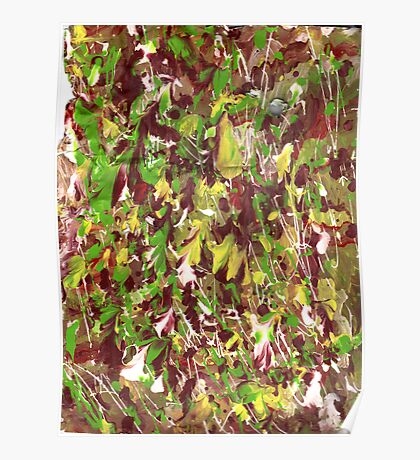 GREEN AND YELLOW STREAKY ABSTRACT Poster