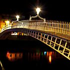 Ha&#x27;Penny Bridge At Night by Denise Ab