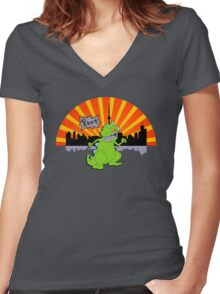 Reptar in da sity Women's Fitted V-Neck T-Shirt