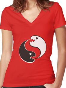 The Ying Yang Cannibals Women's Fitted V-Neck T-Shirt