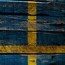 Vintage Sweden Flag - Cracked Grunge Wood by UltraCases