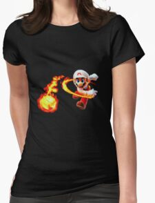 Flaming mario Womens Fitted T-Shirt