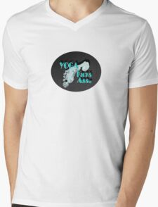 Yoga Kicks Ass. With footprint. Mens V-Neck T-Shirt