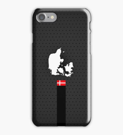 Denmark Flag and Map - Black Stripe on Dark gray iPhone Case/Skin
