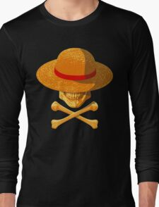 one piece skull realistic hat flag logo ワンピース luffy nami Long Sleeve T-Shirt