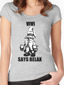 Vivi Says Relax - Monochrome Women's Fitted Scoop T-Shirt