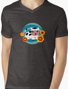 Psychedelic Cow Mens V-Neck T-Shirt