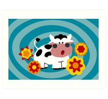 Psychedelic Cow Art Print