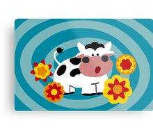 Psychedelic Cow Metal Print