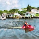 Sports - Man on Jet Ski Tuckerton Seaport by Susan Savad