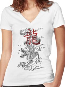 Traditional Japanese Dragon with Kanji Women's Fitted V-Neck T-Shirt