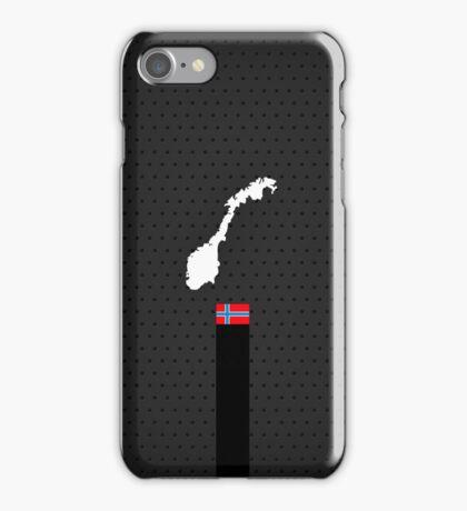 Norwegian Flag and Map - Black Stripe on Dark gray iPhone Case/Skin