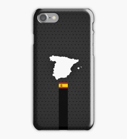 Spain Flag and Map - Black Stripe on Dark gray iPhone Case/Skin