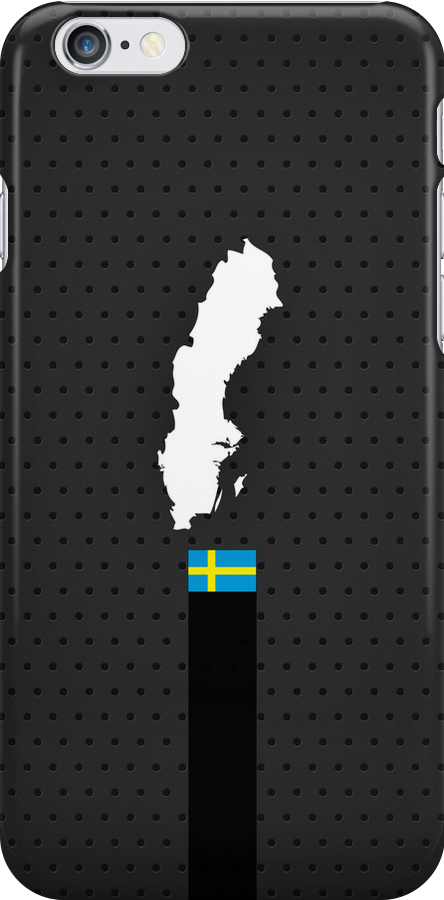 Sweden Flag and Map - Black Stripe on Dark gray by UltraCases