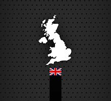 UK Flag and Map - Black Stripe on Dark gray by UltraCases