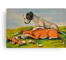 Vicious Pit Bull Dogs! Canvas Print