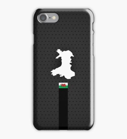 Wales Flag and Map - Black Stripe on Dark gray iPhone Case/Skin