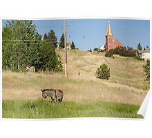 Cripple Creek, Colorado Donkey and church Poster