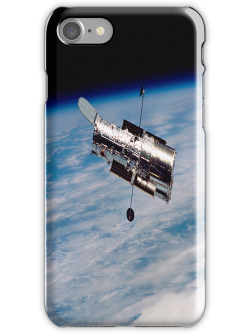 Hubble Orbiting Earth iPhone Case by iphonejohn