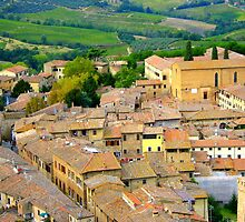 The Rooftops Of San Gimignano by Fara