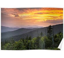 Clingmans Dome Great Smoky Mountains - Purple Mountains Majesty Poster