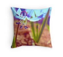 Blue Wildflower Throw Pillow