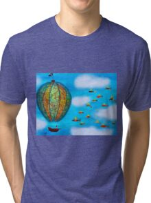 Pirate Hot Air Balloon with Flying Fish Tri-blend T-Shirt