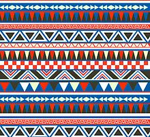 Red and Blue Aztec Pattern by Ross Bowden