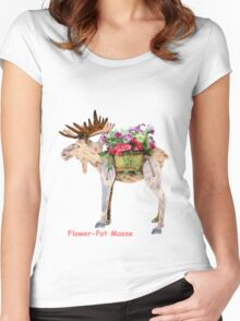 Flower-Pot Moose Women's Fitted Scoop T-Shirt