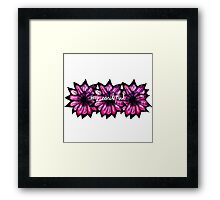 """# Beautiful"" with Purple Hand Painted Flowers Framed Print"