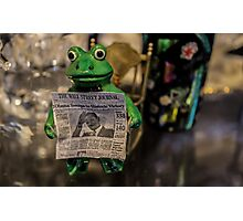 Froggy Reads the Wall Street Journal Photographic Print