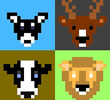 8-Bit Animal 4-square by lookaquarter
