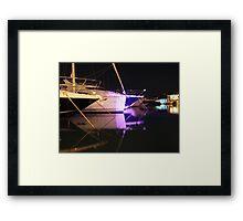 Yachts and Boats marina at night Framed Print