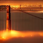 Golden Gate on fire by Francesco Carucci