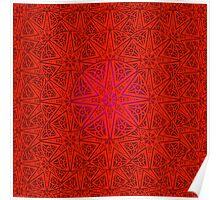 rashim red lace mandala Poster