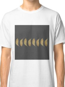 Pretty and Swanky Faux Gold Leaf Stripe on Black Classic T-Shirt