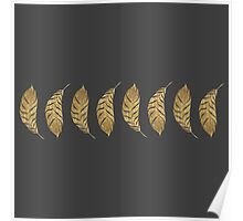 Pretty and Swanky Faux Gold Leaf Stripe on Black Poster