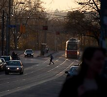 Streetcar In The Fading Light At Queen & Roncesvalles by Gary Chapple