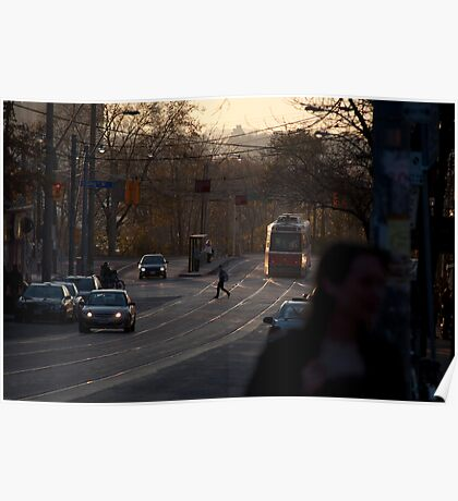 Streetcar In The Fading Light At Queen & Roncesvalles Poster